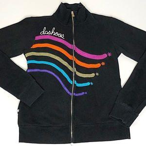 DC Shoes Black Multi Zip Up Hoodie Rainbow Stitch